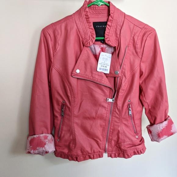 c227d9253892 Coral Ruffle Floral Faux Leather Moto Jacket M